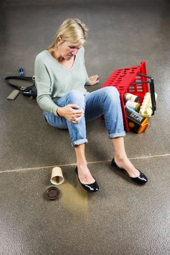 woman after a fall while shopping